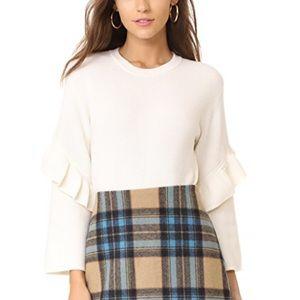 NWT Tory Burch Ashley Ruffle-Trimmed Wool Sweater